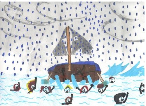 Ζωγραφιές μαθητών της Δ΄1 τάξης οι οποίοι έγραψαν και παραμύθι για τους πρόσφυγες