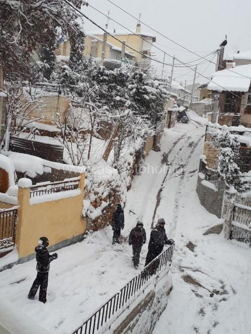 Οι μόνοι ευχαριστημένοι από τις χιονοπτώσεις είναι μάλλον οι πιτσιρικάδες οι οποίοι παίζουν καθημερινά χιονοπόλεμο και μάλλον δείχνουν... ικανοποιημένοι που τα σχολεία παραμένουν κλειστά...